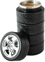 Emerge Stacked Tyres 500 Ml Flask (Pack Of 1, Black)