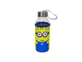 Satyam Kraft Glass Water Bottle with Thermal Sleeve and a Strap - Minion Series - Type 2 300 ml Bottle