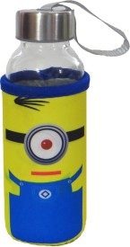 Satyam Kraft Glass Water Bottle with Thermal Sleeve and a Strap - Minion Series - Type 1 300 ml Bottle