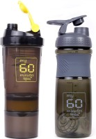 My 60 Minutes Pack Of Yellow Hulk & Grey Smart Shaker 760 Ml Bottle (Pack Of 2, Yellow, Grey)