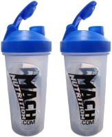 Mach Nutrition PP5PP5 650 Ml Shaker, Bottle, Sipper (Pack Of 2, Transparent, Blue Cap)