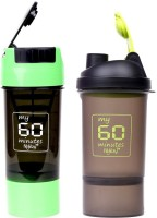 My 60 Minutes Pack Of Green & Green Shaker 600 Ml Bottle (Pack Of 2, Green, Green)