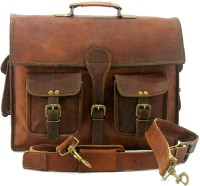 Urban Dezire Genuine Vintage Style Leather Laptop Shoulder Bag Large Briefcase - For Men, Women Brown