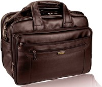 Easies 17 Inch Synthetic Leather Laptop Messenger Bag Large Briefcase - For Girls Brown