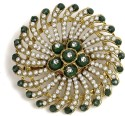 The Pari Green Round Brooch - Green