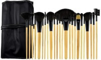 TopNail Facial Cosmetic 24 Pieces Make Up Brushes Set With Black Hard PU Leather Bag (Pack Of 24)
