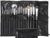 Infinitive Beauty 'Essential- You Are Worth It' 19pc Piece Luxury Shiny Black Handle Brushes With Chrome Aluminium Silver Cut Make Up Brush Set For Eyes & Face With Leather Holding Pouch Bag (Pack Of 19)