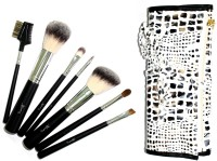 Beauty Of Life 7 Pieces Soft Professional Travel Brush Set With Carry Case.Colour:Black&White (Pack Of 7)