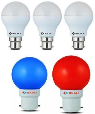 7 W, 0.5 W LED Bulb White, Blue, Red (pack of 5)