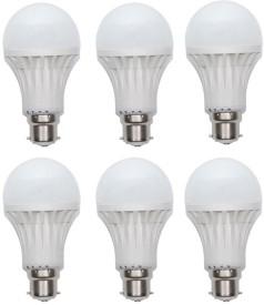 Gold-7W-Plastic-Body-LED-Bulb-(White,-Pack-Of-6)-