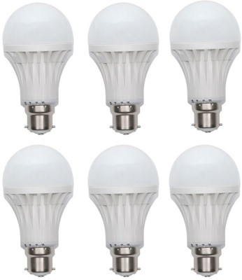 Gold-7W-Plastic-Body-LED-Bulb-(White,-Pack-Of-6)-