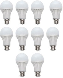 12W Plastic 450 Lumens White LED Bulb (Pack Of 10)