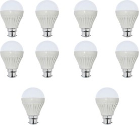 9W Plastic White LED Bulb (Pack Of 10)