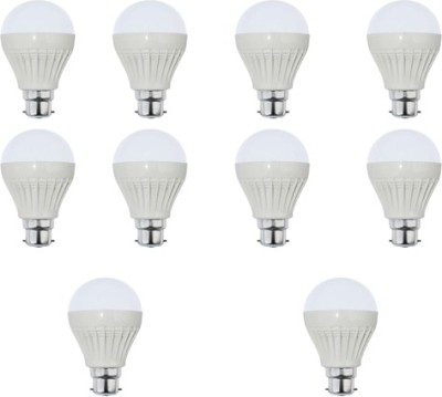 7W Plastic White LED Bulb (Pack Of 10)