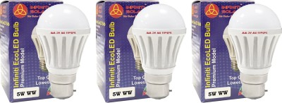 Eco B22 5W LED Bulb (Warm White, Pack of 3)