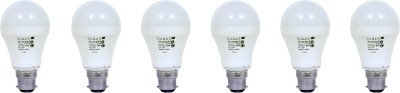 9W Aluminium Body White LED Bulb (Pack of 6)