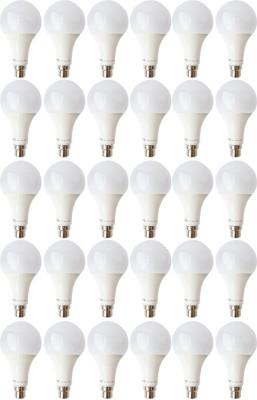 9W B22 LED Bulb (White, Set of 30)