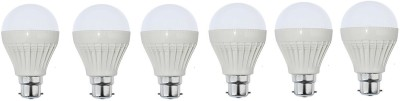 9W B22 Plastic Body White LED Bulb (Pack of 6)