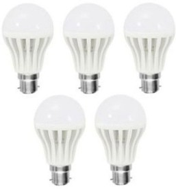 7W Plastic White LED Bulb (Pack Of 5)