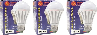 Eco E27 9W LED Bulb (Warm White, Pack of 3)