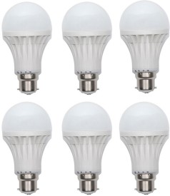 Gold 9W Plastic Body Warm White LED Bulb (Pack Of 6)