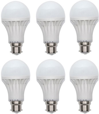 Gold-9W-Plastic-Body-Warm-White-LED-Bulb-(Pack-Of-6)