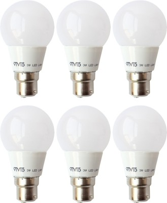 3W B22 LED Bulb (White, Set of 6)
