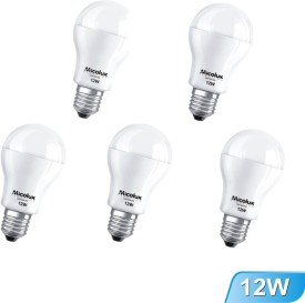 12W Cool Day Light E27 Base LED Bulbs (Pack Of 5)