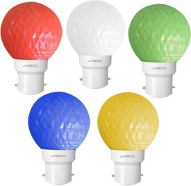 0.5W B22 LED Bulb (Multicolor, Set of 5)