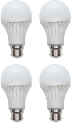 Gold-9W-Plastic-Body-Warm-White-LED-Bulb-(Pack-Of-4)