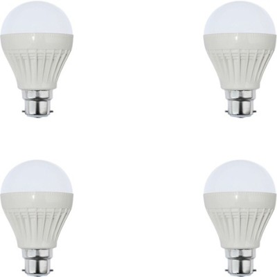 7W Plastic White LED Bulb (Pack Of 4)