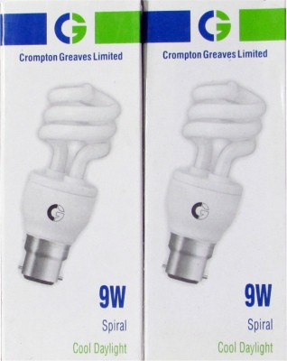 Greaves 9 W Spiral CFL Bulb (Cool Daylight, Pack of 2)
