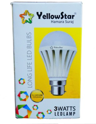 Yellowstar-3W-B22-LED-Bulb-(White,-Set-of-5)