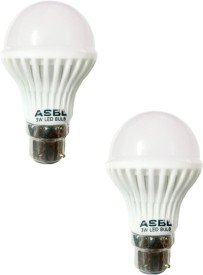3W B22 LED Bulb (White, Pack of 2)