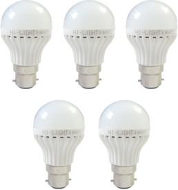 3W B22 LED Bulb (White, Set of 5)