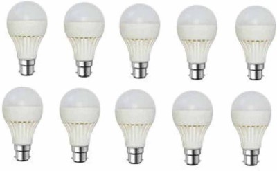 Gold 9W Plastic Body Warm White LED Bulb (Pack Of 10)