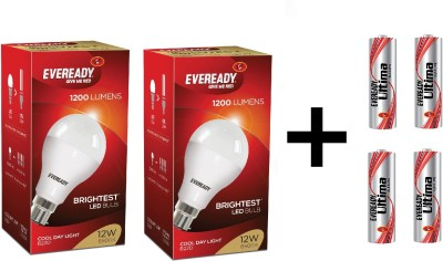 12 W LED 6500K Cool Daylight Bulb White (pack of 2) 4 AAA Batteries (combo)
