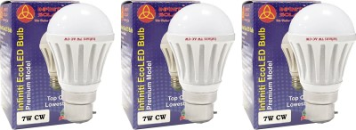 Eco B22 7W LED Bulb (Cool White, Pack of 3)