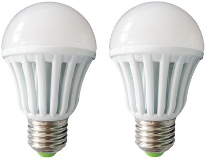 7W E27 Plastic Body White LED Bulb (Pack of 2)