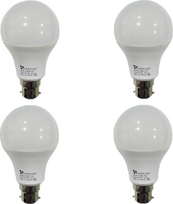 7W B22 Plastic LED Bulbs (White, Pack of 4)