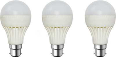 9W Plastic Body White LED Bulb (Pack of 3)