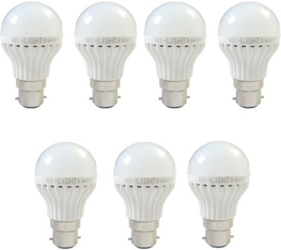 3W B22 LED Bulb (White, Set of 7)