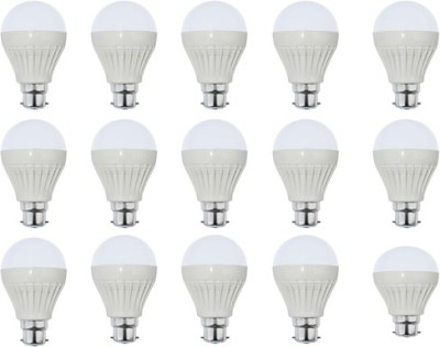 7W Plastic White LED Bulb (Pack Of 15)
