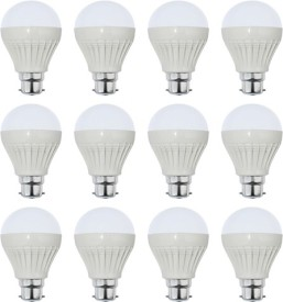 7W Plastic White LED Bulb (Pack Of 12)