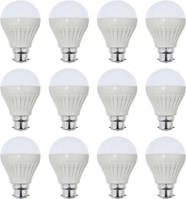 5W Plastic White LED Bulb (Pack Of 12)