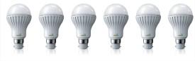 3W B22 LED Bulb (White, Set Of 6)
