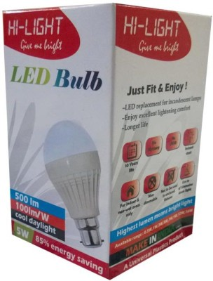 5W B22 LED Bulb (White, Set of 3)