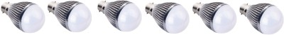 3W B22 Aluminium Body White LED Bulb (Pack of 6)