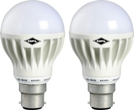 HPL 7W White PVC LED Bulbs (Pack Of 2)