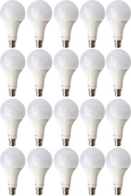 9W B22 LED Bulb (White, Set of 20)